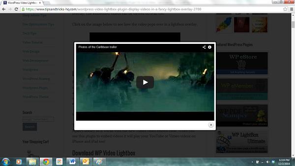 WP Video Lightbox plugin screenshot